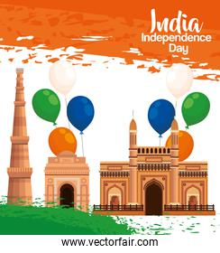 india architecture with balloons and flag decoration