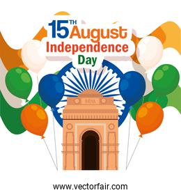 india architecture with emblem and balloons decoration