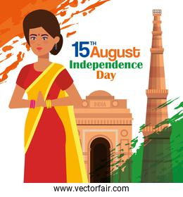 india woman with architecture and flag decoration