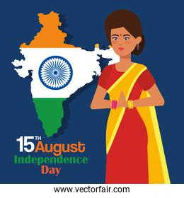 india woman and map with tradional emblem