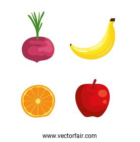 set of onion with banana and orange with apple