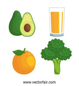 set of avocado with orange juice and fruit with apple