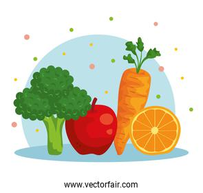 fresh broccoli with apple and carrot with orange