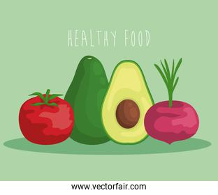 fresh avocado fruit with tomato and onion vegetables