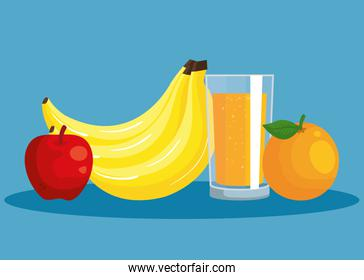 fresh bananas and apple with orange fruit and juice