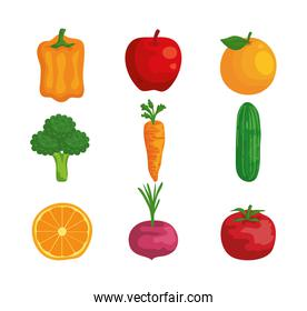 set of organic fruits and vegetables fresh nutrition