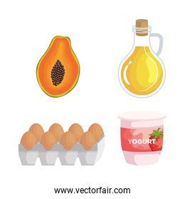 set of pawpaw and olive oil with eggs and strawberry yogurt