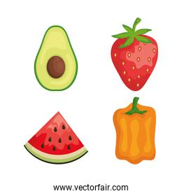 set of avocado with strawberry and watermelon with pepper