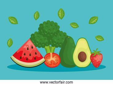watermelon with broccoli and avocado with tomato and strawberry