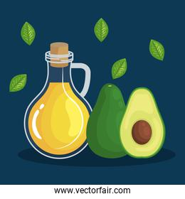 olive oil with avocado fruit and leaves