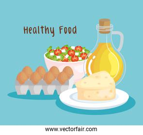 fresh eggs with nutrition salad with olive oil and cheese