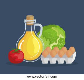 olive oil with tomato and eggs with lettuce nutrition
