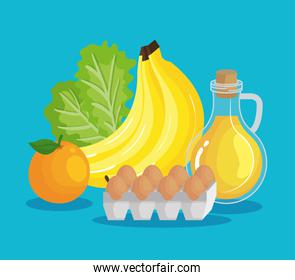 bananas with olive oil and eggs with lettuce and orange