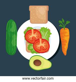 salad with cucumber and wholemeal bread with carrot and avocado