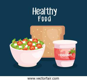 salad with wholemeal bread and strawberry yogurt nutrition