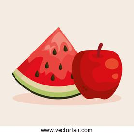 fresh watermelon and apple fruits nutrition