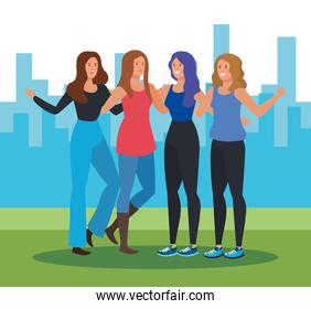 women friends together with hairstyle and casual clothes