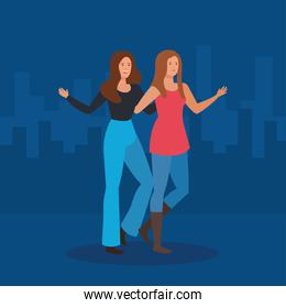 happy women friends together with casual clothes