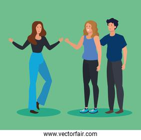 women and man friends together with hairstyle and casual clothes