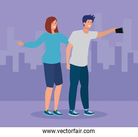girl and boy with casual clothes and smartphone selfie