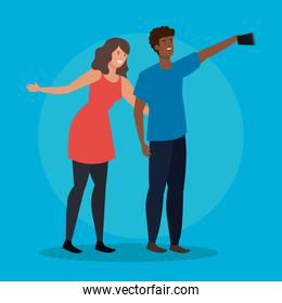 girl and boy with hairstyle and smartphone selfie