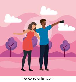girl and boy friends together with selfie smartphone