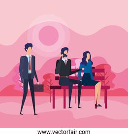 businessmen and businesswoman with elegant clothes and suitcase