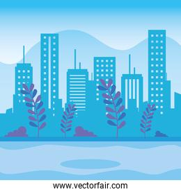 urban buildings with branches plants cityscape