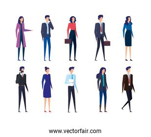 set of businesswomen and businessmen with smartphones and suitcases