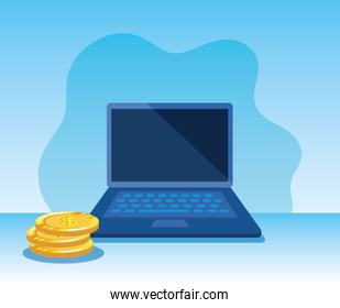 laptop technology and coins cash money