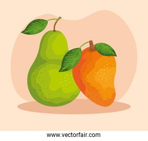 delicios pear and mango fruits with leaves