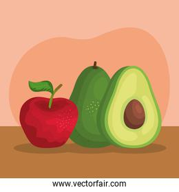 delicious apple with avocado fruits nutritions