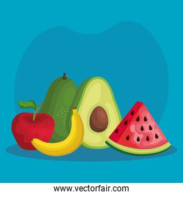 tropical organic fruits nutrition with vitamin