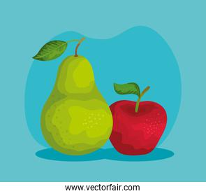 delicious pear and apple fruits nutrition