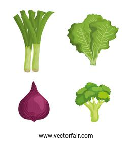 set of fresh vegetables with healthy nutrition