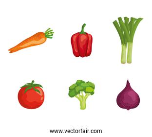set of fresh vegetables healthy nutrition