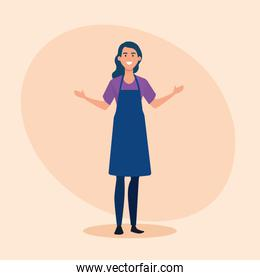 saleswoman with hairstyle and casual clothes wearing apron