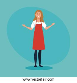 happy saleswoman with casual clothes wearing apron