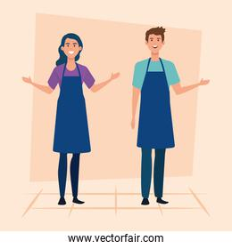 set of saleswoman and salesman with casual clothes wearing apron
