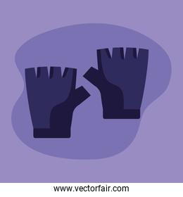 gloves object over purple background