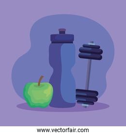 water bottle and weight with apple fruit