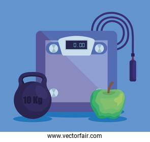 weighing machine with weight and apple with jumping rope
