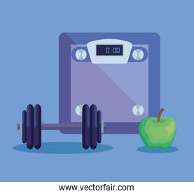 weighing machine with apple fruit and weight