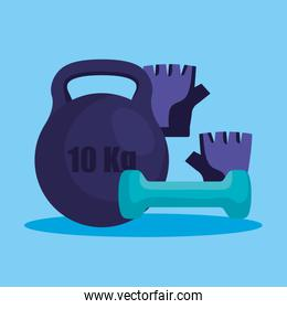 weight with dumbbell and gloves to fitness lifestyle