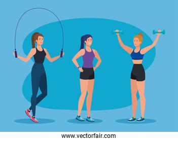 set of fitness women with rope and dumbbells exercise
