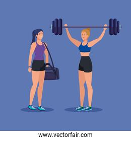 set of women with weight and bag to healthy activity