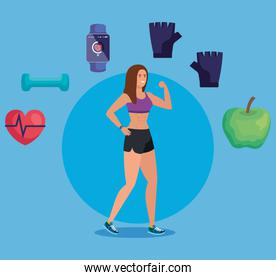 healthy woman with fitness exercise activity
