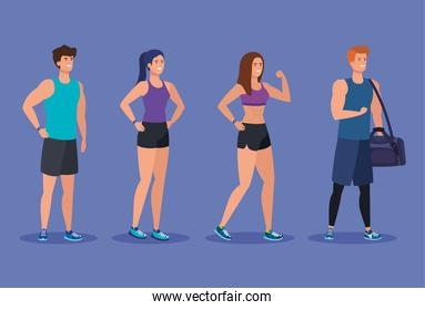 set of fitness women and men to exercise activity