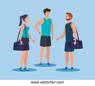 fitness woman and men with bag to practice sport