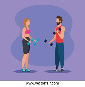 woman and man with dumbbells to practice sport